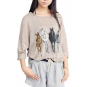 Four Horse Print Round Neck 3/4 Sleeve Tunic T-Shirt