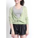 Green Long Sleeve V-Neck Single Breast Cardigan