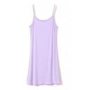 Plain Cute Style Slip Slim Modal Dress