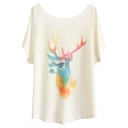 Color Block Style Deer&Tiger Print White Tee