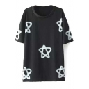 Black Five-Pointed Star Short Sleeve Tunic Tee