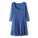 Plain Lace Heart Neck 3/4 Sleeve Ruffle Hem Dress