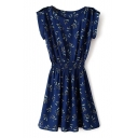 Navy Butterfly Print Short Sleeve Gathered Waist Dress