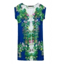 Short Sleeve Slim Bodycon Green Flora Print Blue Panel Dress