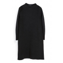 Stand Collar Black Column Concise Dress with 3/4 Sleeve