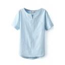 Blue V-Neck Short Sleeve High Low Hem Blouse