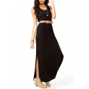Plain Round Neck Sleeveless Split Maxi Dress