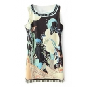 Sea World Print Sleeveless Round Neck Dress