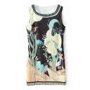 Sea World Print Sleeveless Round Neck Dress