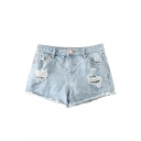 Light Wash Distressed Mid Waist Denim Shorts