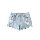 Light Wash Distressed Mid Waist Denim Shorts