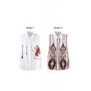 White Sleeveless Vintage Pattern Chiffon Shirt