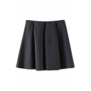 Black Fitted Ruffle Hem Pleated Mini Skirt