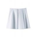 White Plain Ruffle Hem Ruffle Hem Skirt