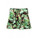 Green Leaf Print High Waist Pleated A-Line Skirt