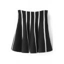 Stripe Print Ruffle Hem High Waist Mini Skirt