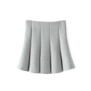 Gray Plain Cotton Pleated A-Line Mini Skirt