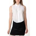 White Sleeveless Cotton Crop Shirt