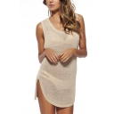 Beige Plain Knit Round Neck Cutout Back Sundress