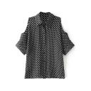 Black 1/2 Cutout Sleeve White Polka Dot Slim Shirt