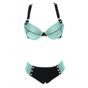 Green Wide Strap Cross Back Pockets Bikini Set