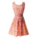 Orange Sleeveless Blossom Flora Print Dress
