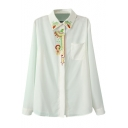 White Embroidered Placket Long Sleeve Shirt