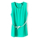 Rivet Sleeveless Belted Chiffon Top