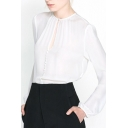 White Cutout Front Long Sleeve Blouse with Button