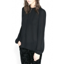 Black Cutout Front Long Sleeve Blouse with Button