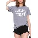 Avocado Toast Print Gray T-Shirt