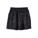 Polka Dot Print Elastic Waist  Chiffon Skater Skirt
