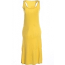 Yellow Modal Racerback Tanks Longline Dress