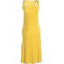 Yellow Modal Racerback Tanks Longline Dress
