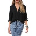 Stand Up Collar Long Sleeve Chiffon Blouse