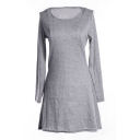 Gray Slim Concise A-line Mini Dress