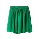 Green Elastic Waist Pleated Chiffon Skirt