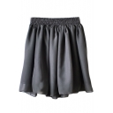 Dark Gray Elastic Waist Pleated Chiffon Skirt