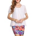 White Short Sleeve Pleated Front Chiffon Blouse