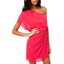 Red One Shoulder Chiffon Mini Dress