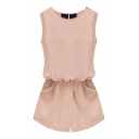 Pink Sleeveless Back Pockets Rompers