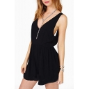 Black V-Neck Backless Zip Chiffon Rompers