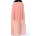 Pink Elastic Waist Chiffon Maxi Skirt