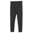 Black High Waist Zipper Fly Pockets Crop Pants