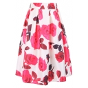Beautiful Rose Print Elastic Waist Midi Skirt