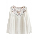 V-Neck Long Sleeve Ethnic Flora Embroidery White Blouse