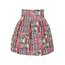 Ethnic Style Print High Waist Pleated Mini Skirt