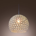 Graceful Design Modern Chrome Sphere Frame Crystal Mini Pendant Light