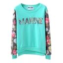 Letter Floral Pattern Floral Print Sleeve Sweatshirt with Velvet Inside