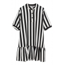 Half Button Fly Short Sleeve Vertical Stripe Ruffle Hem Chiffon Dress